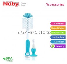 Nuby Bottle Brush Interlocking Suction Bottom With Nipple Brush (0m+) NB5523