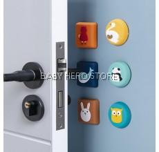 Cartoon Silicone Door Anti-Collision Pad / Self Adhesive Rubber Protector Door Handle / Bumper Guard Stopper