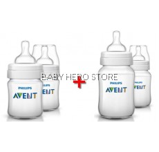 COMBO DEAL Avent Classic Plus 4oz/125ml Twin Pack + Avent Classic Plus 9oz/260ml Twin Pack