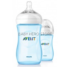 Avent Natural Bottle 9oz / 260ml Twin Pack BLUE PINK