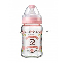 Simba Crystal Romance Wide Neck Glass Feeding Bottle (Rose) - 180ml